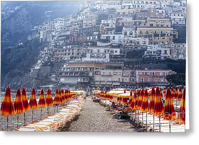 Beach Activities Greeting Cards - Positano Beach Scenic Greeting Card by George Oze