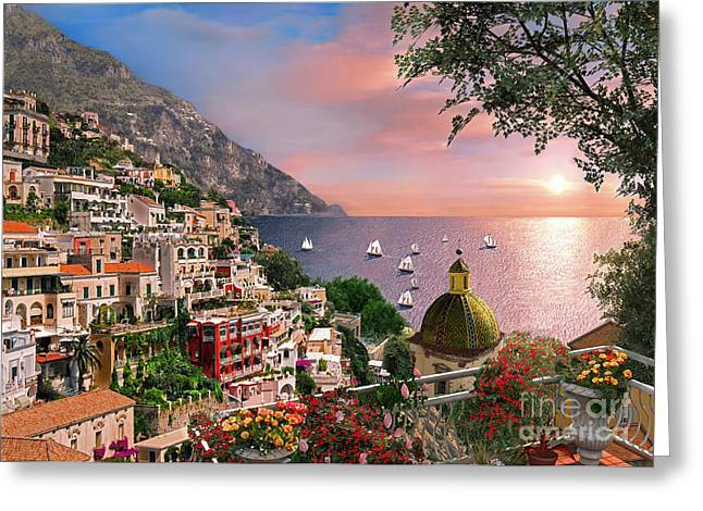 Italian Sunset Greeting Cards - Positano Greeting Card by Dominic Davison