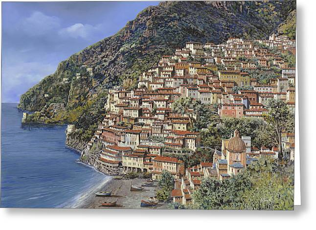 Port Greeting Cards - Positano e la Torre Clavel Greeting Card by Guido Borelli