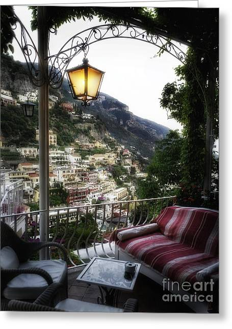 Trellis Greeting Cards - Positano Evening Greeting Card by George Oze
