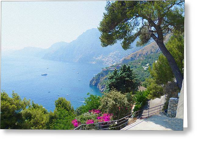 Dry Brush Greeting Cards - Positano Italy Amalfi Coast Delight Greeting Card by Irina Sztukowski