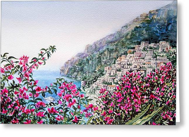 Famouse Greeting Cards - Positano Italy Greeting Card by Irina Sztukowski
