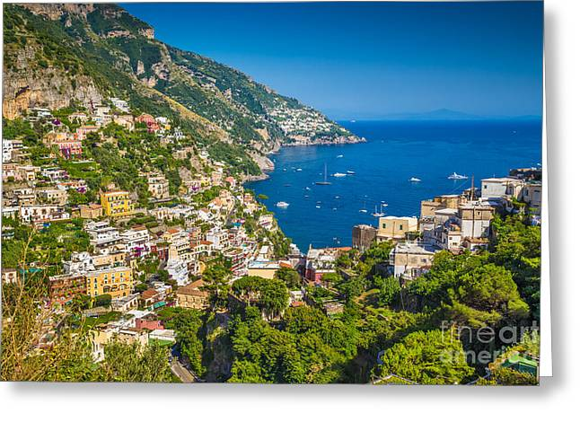 Amalfi Sunset Greeting Cards - Positano Greeting Card by JR Photography