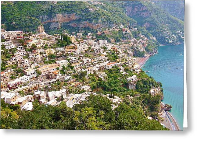 Positano Greeting Cards - Positano Panorama Greeting Card by Marilyn Dunlap