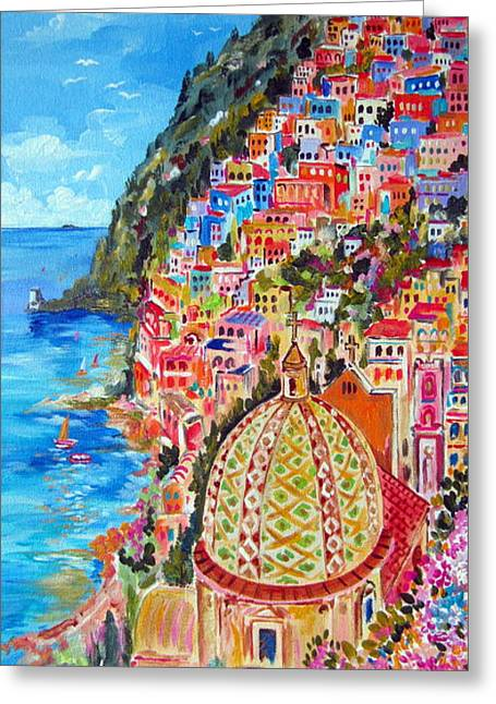 Roberto Greeting Cards - Positano pearl of the Amalfi Coast Greeting Card by Roberto Gagliardi