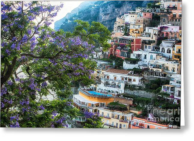 Jacaranda Tree Greeting Cards - Positano Summer View Greeting Card by George Oze