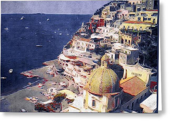 Ocean Art Photography Greeting Cards - Positano Greeting Card by Susan Maxwell Schmidt