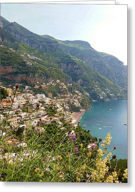 Positano Greeting Cards - Positano Through The Flowers Greeting Card by Marilyn Dunlap