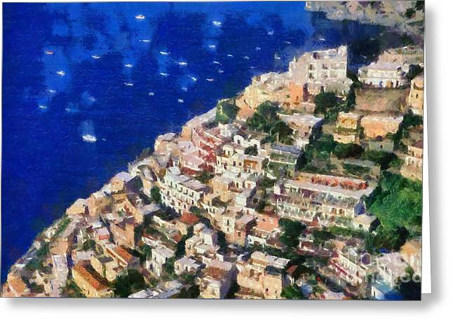 Paint Greeting Cards - Positano town in Italy Greeting Card by George Atsametakis