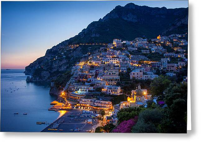 Positano Greeting Cards - Positano Twilight Greeting Card by Brian Jannsen