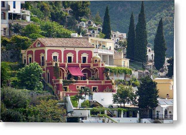 Positano Greeting Cards - Positano Villa Greeting Card by Marilyn Dunlap