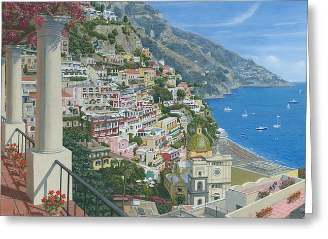 Positano Vista Amalfi Coast Italy Greeting Card by Richard Harpum