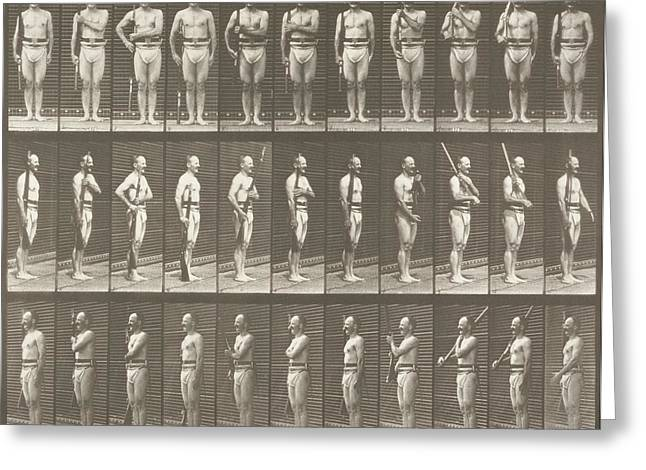 Muybridge Greeting Cards - Positioning Bayonet Greeting Card by Celestial Images