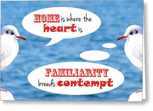 Positive-thinking And Negative-thinking Seagull Twins 3 Greeting Card by Beverly Claire Kaiya