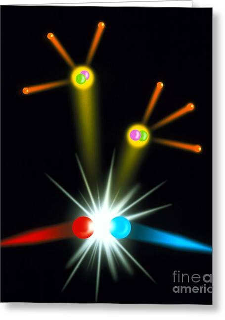 Anti Greeting Cards - Positron-electron Collision Greeting Card by Spl