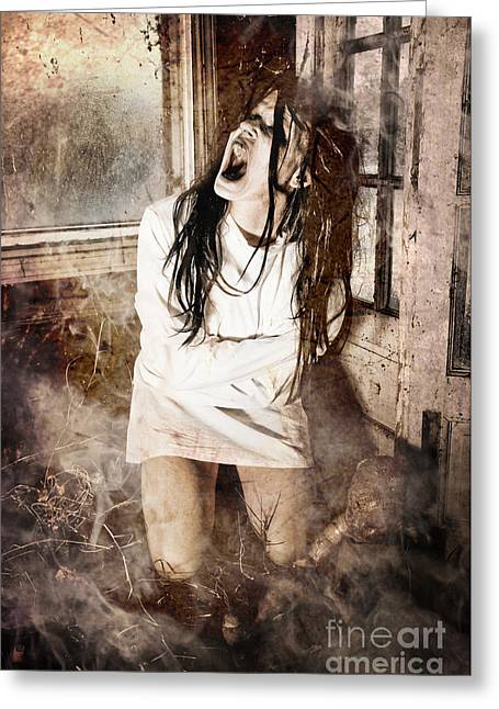 Mental Institution Greeting Cards - Possessed Greeting Card by Jt PhotoDesign