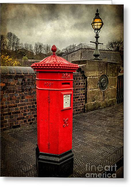 Kerb Greeting Cards - Post Box v2 Greeting Card by Adrian Evans