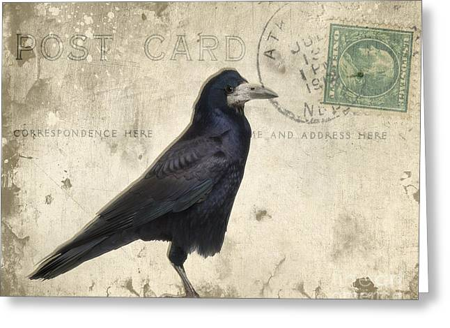 Canvas Crows Greeting Cards - Post Card Nevermore Greeting Card by Edward Fielding