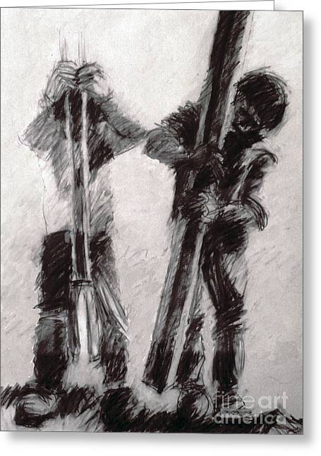 At Work Drawings Greeting Cards - Post hole diggers Greeting Card by Charles M Williams