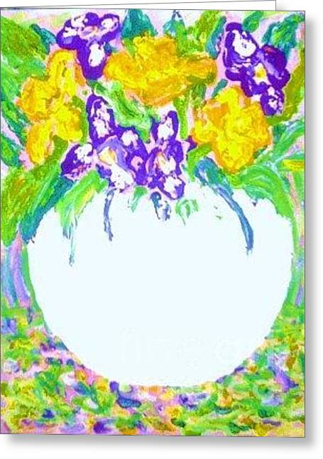 Still Life With Daffodils Greeting Cards - Post Impressionist Daffodils And Irises Greeting Card by C Fanous