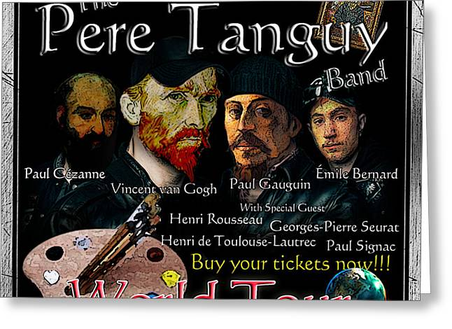 Seurat Drawings Greeting Cards - Post-Impressionist Tour - The Pere Tanguy Band Greeting Card by Jose A Gonzalez Jr