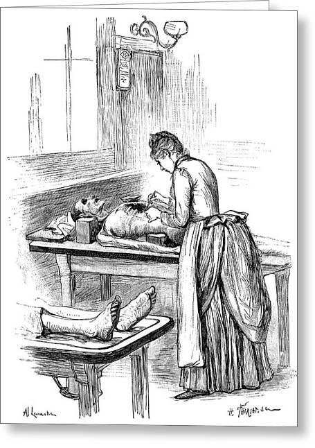 Forensic Pathology Greeting Cards - Post-mortem examination, 1890 Greeting Card by Science Photo Library