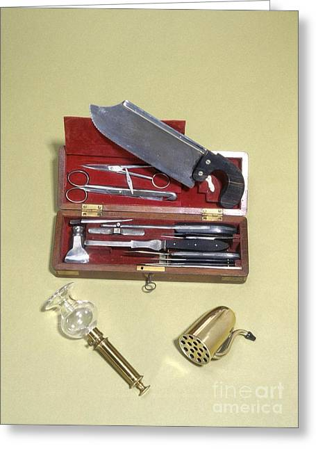 Post-mortem Greeting Cards - Post Mortem Instruments, 19th Century Greeting Card by Science Photo Library