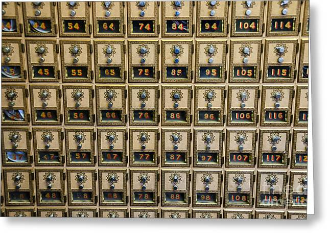 Post Office Combination Lock Boxes Greeting Card by Sue Smith