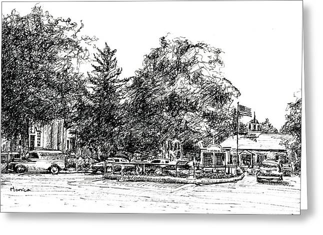 Small Towns Drawings Greeting Cards - Post Office Greeting Card by Monica Cohen