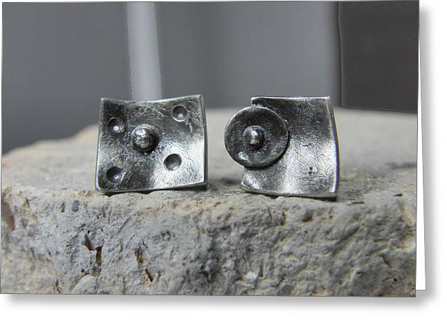 Gift For Jewelry Greeting Cards - Post Stud Silver Unisex Earrings Greeting Card by Vesna Kolobaric