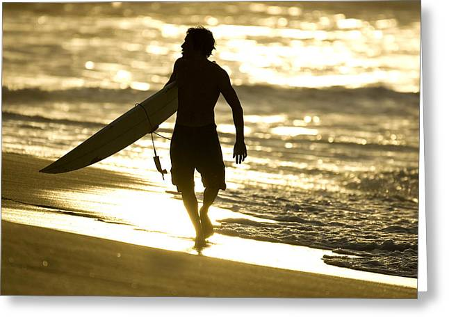 Surfer Art Greeting Cards - Post Surf Gold Greeting Card by Sean Davey