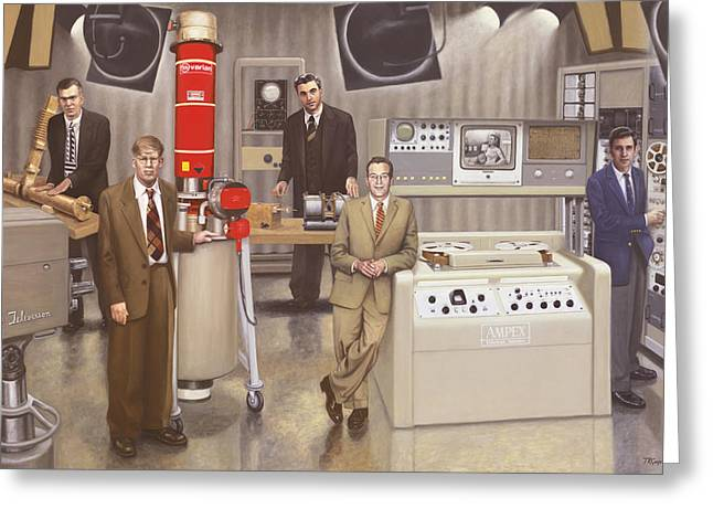 Tape Recorder Greeting Cards - Post WWII Inventors Greeting Card by Terry Guyer