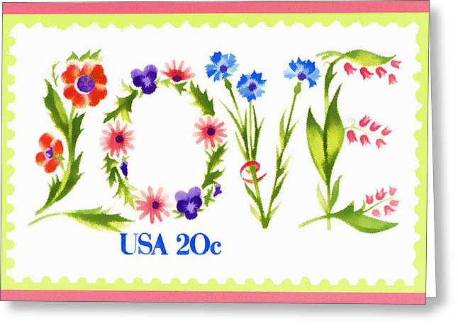Postal Photographs Greeting Cards - Postage Stamp Love Greeting Card by Carol Leigh