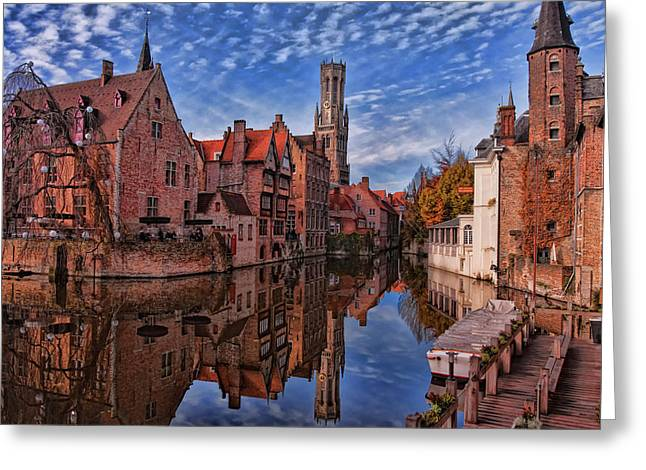Europe Greeting Cards - Postcard Canal Greeting Card by Joan Carroll