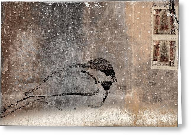 Old Postcards Greeting Cards - Postcard Chickadee in the Snow Greeting Card by Carol Leigh