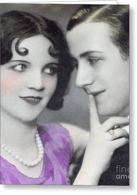 1930s Greeting Cards - Postcard Depicting Two Lovers Greeting Card by Italian School