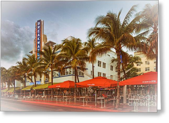 Sky Lovers Art Greeting Cards - Postcard of Breakwater Esplendor Hotel on Ocean Drive - South Beach Miami Beach Florida Greeting Card by Silvio Ligutti