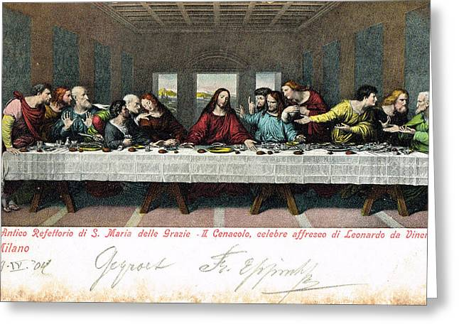 Postcard Of Last Supper Greeting Card by Celestial Images
