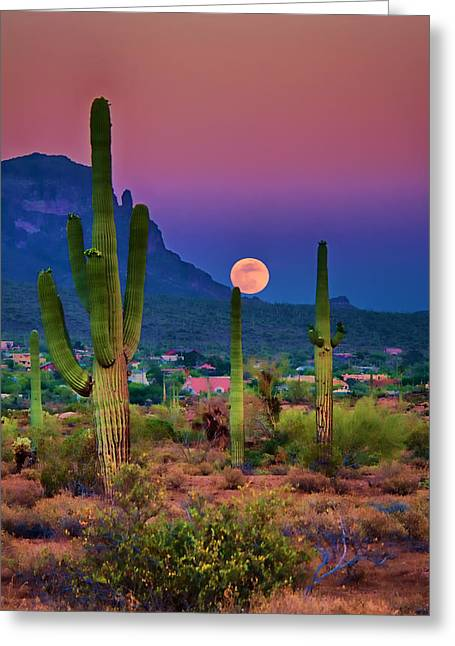 Moonrise Greeting Cards - Postcard Perfect Arizona Greeting Card by Saija  Lehtonen