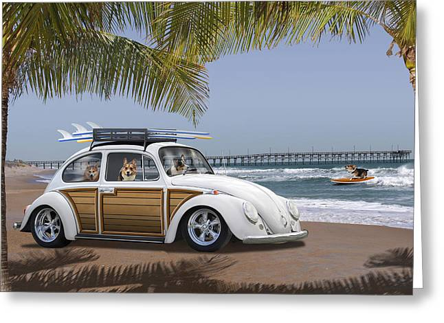 Volkswagen Greeting Cards - Postcards from Otis - Beach Corgis Greeting Card by Mike McGlothlen