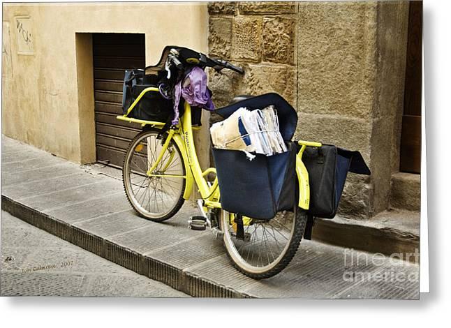 Bicycling Tuscany Greeting Cards - Poste Italiane  Greeting Card by Jim  Calarese