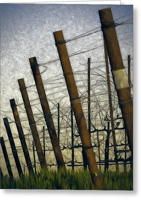 Sonoma County Vineyards. Mixed Media Greeting Cards - Posted Greeting Card by John K Woodruff