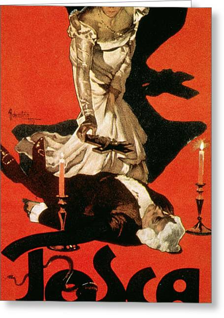 Red And Black Greeting Cards - Poster Advertising a Performance of Tosca Greeting Card by Adolfo Hohenstein