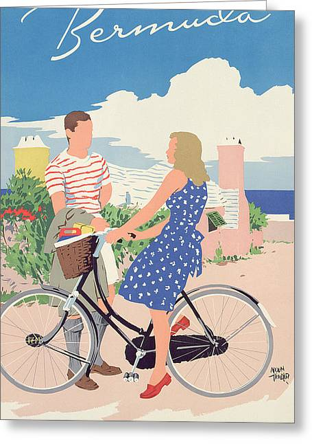 Bike Drawings Greeting Cards - Poster advertising Bermuda Greeting Card by Adolph Treidler