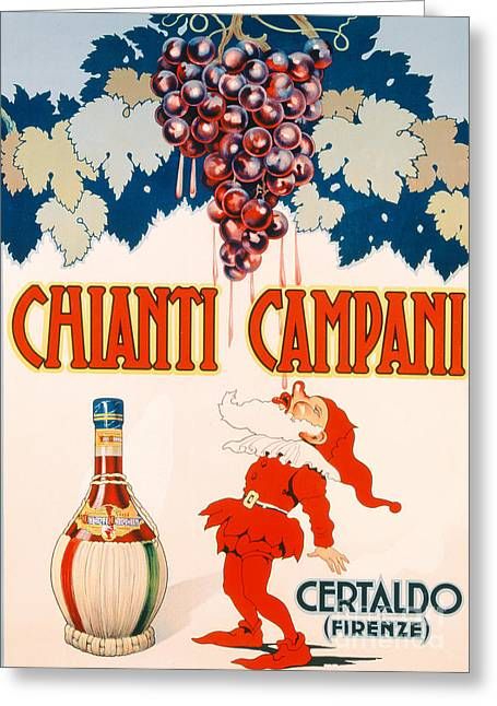 Grape Print Greeting Cards - Poster advertising Chianti Campani Greeting Card by Necchi