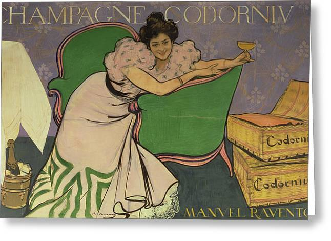Decadence Greeting Cards - Poster Advertising Codorniu Champagne Colour Litho Greeting Card by Ramon Casas i Carbo