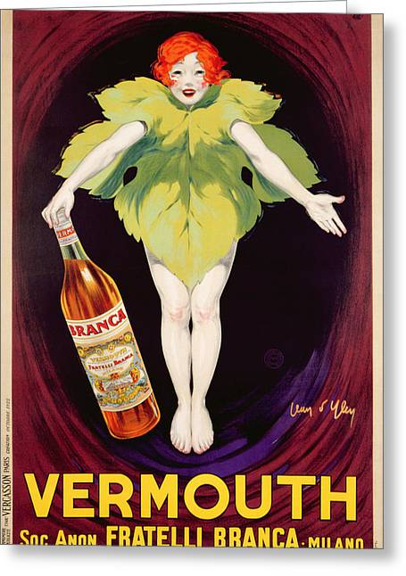 Vines Drawings Greeting Cards - Poster Advertising Fratelli Branca Vermouth Greeting Card by Jean DYlen