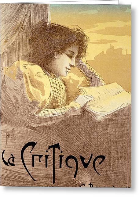 Poster Advertising La Critique Greeting Card by Ferdinand Misti Mifliez