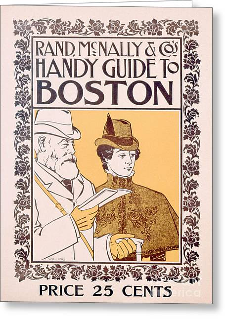 Belles Drawings Greeting Cards - Poster Advertising Rand McNally and Cos Hand Guide to Boston Greeting Card by American School