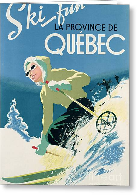 Skiing Poster Greeting Cards - Poster advertising skiing holidays in the province of Quebec Greeting Card by Canadian School